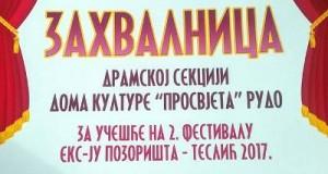 Dramska sekcija iz Rudog gostovala na festivalu Eks-ju  pozorišta u Tesliću